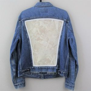 VTG LEVIS Made In USA Lace Jean Jacket 42 B223